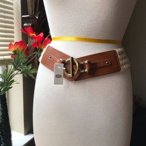 Fossil leather & jute natural stretch waist belt